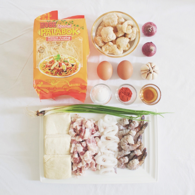 Pancit Palabok (Filipino Style Noodles with Prawn Gravy) Ingredients