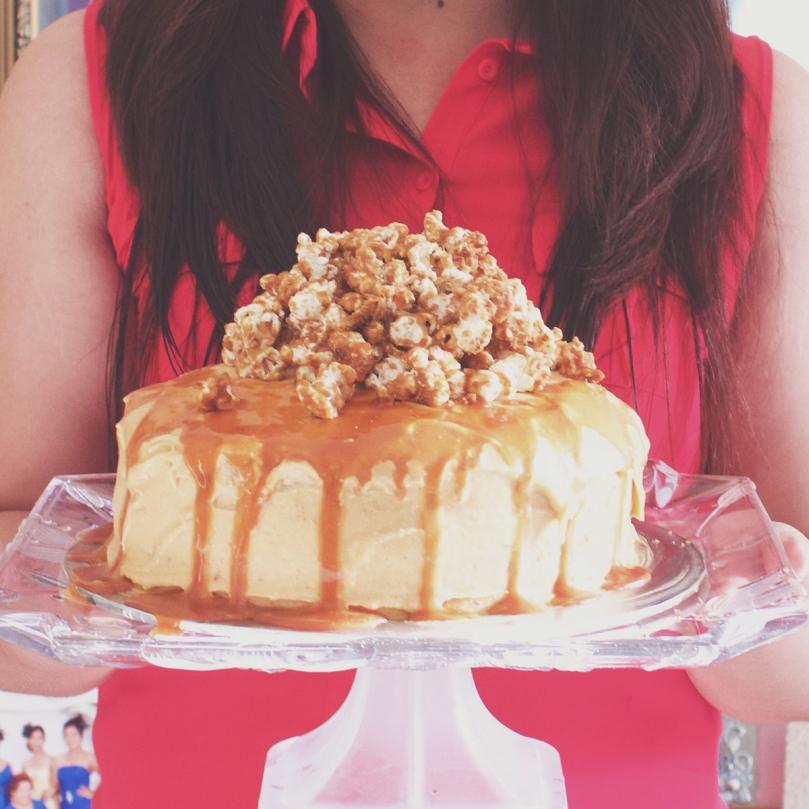 Salted Caramel Popcorn Layered Cake