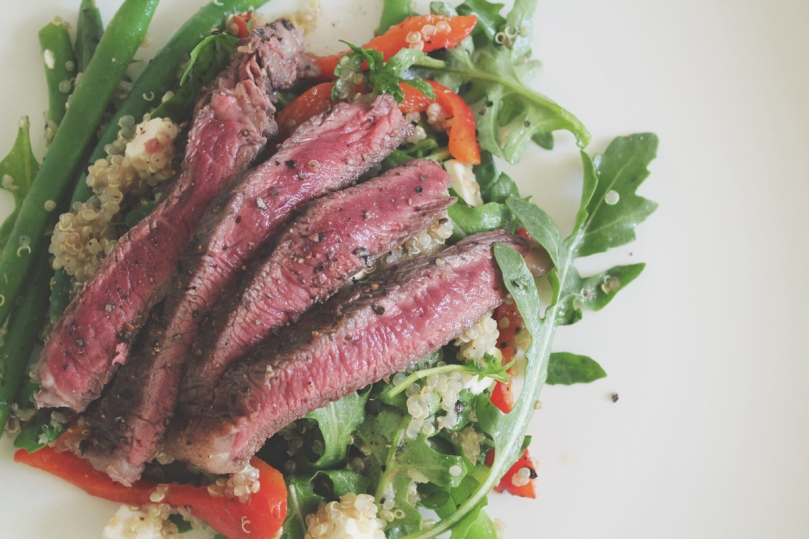 Quinoa, Green Beans, and Roasted Capsicum Salad with Pan-seared Rump Steak