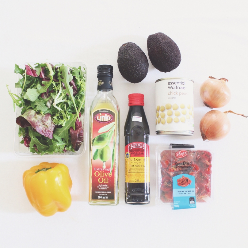 Avocado, Chickpea, & Roasted Capsicum Salad Ingredients