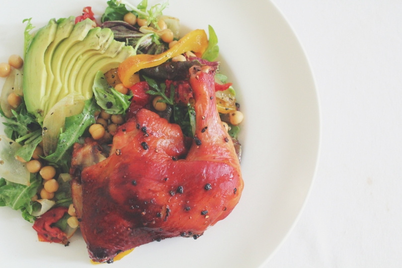 Avocado, Chickpea, & Roasted Capsicum Salad with Roast BBQ Chicken