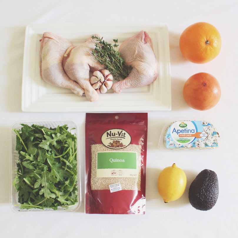 Quinoa, Avocado, & Grapefruit Salad with Lemon and Thyme Roast Chicken Ingredients
