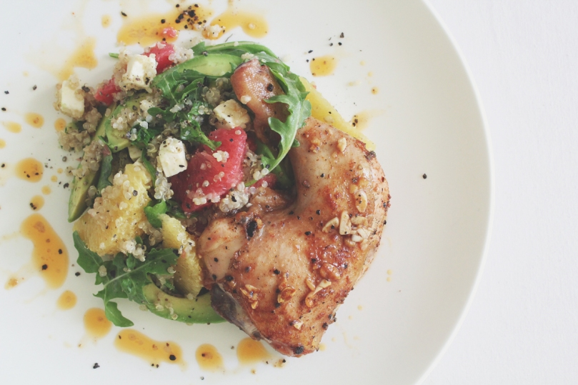 Quinoa, Avocado, & Grapefruit Salad with Lemon and Thyme Roast Chicken
