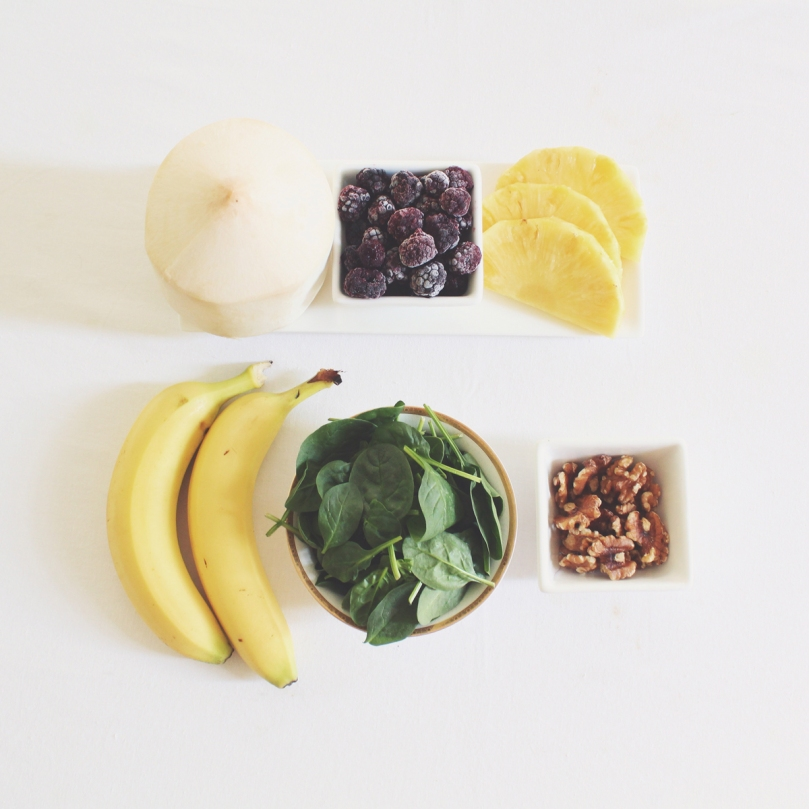Blackberry, Pineapple, & Spinach Smoothie Ingredients