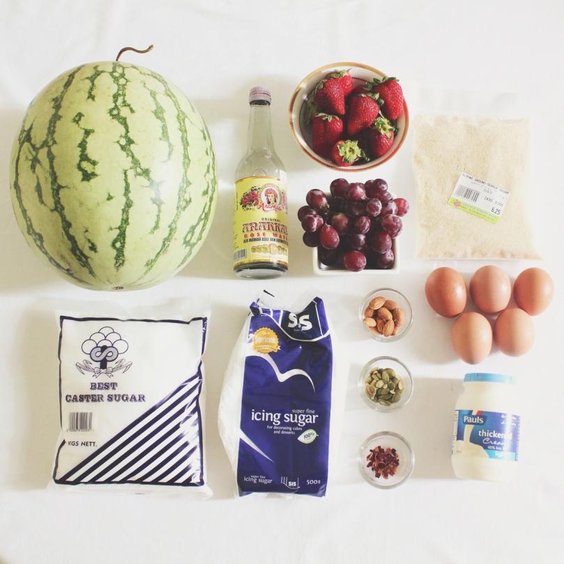 Strawberry & Watermelon Cake Ingredients