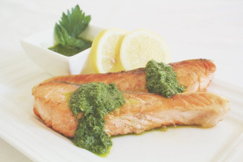Salsa Verde with Pan-fried Salmon