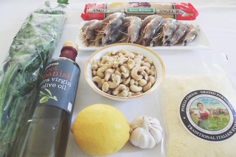 Capellini al Pesto e Gamberi Ingredients