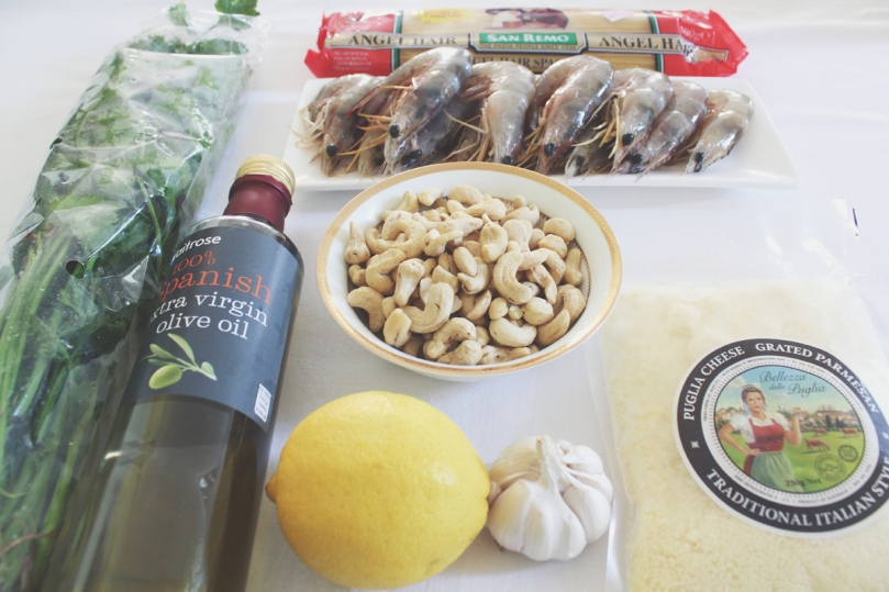 Capellini al Pesto e Gamberi Ingredients