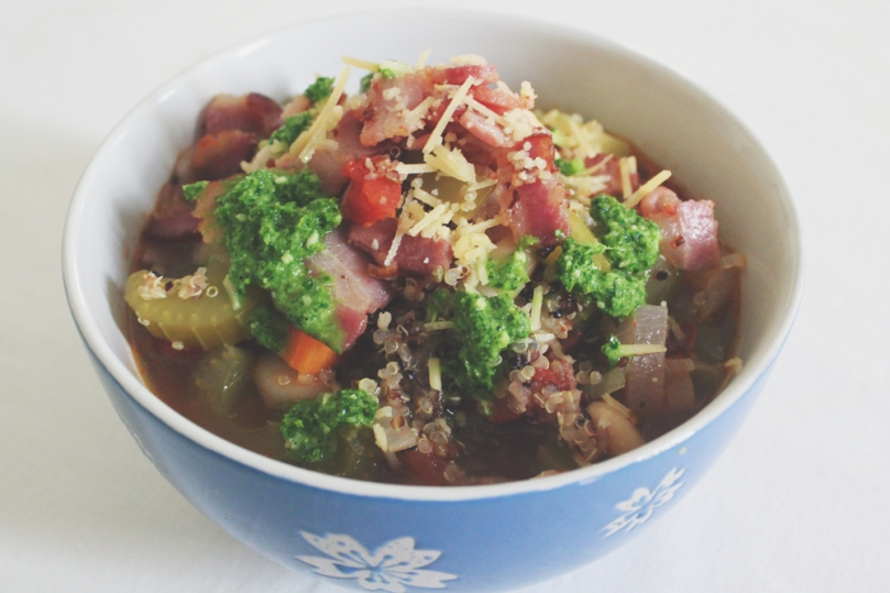 Quinoa Minestone Soup with Kale Pesto