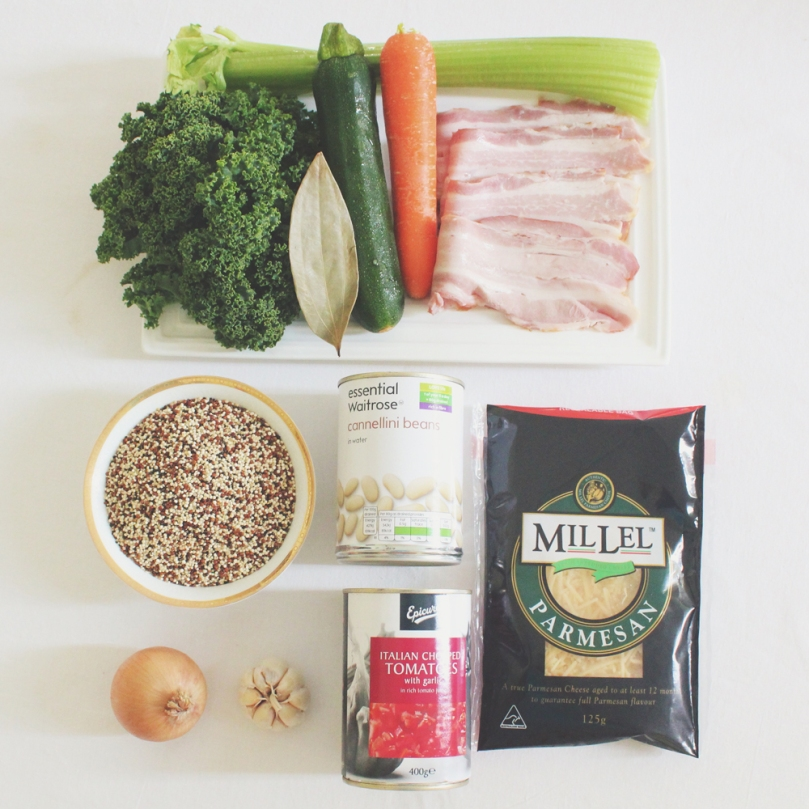 Quinoa Minestone Soup with Kale Pesto Ingredients
