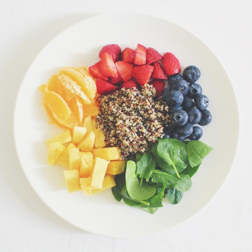 Honey Lime Rainbow Fruit & Quinoa Salad Ingredients