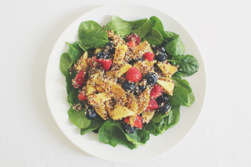 Honey Lime Rainbow Fruit & Quinoa Salad