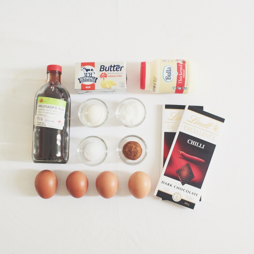 Chilli Chocolate & Cinnamon Cake Ingredients