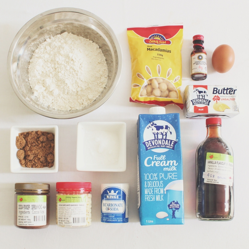 White Chocolate & Macadamia Red Velvet Cookies Ingredients