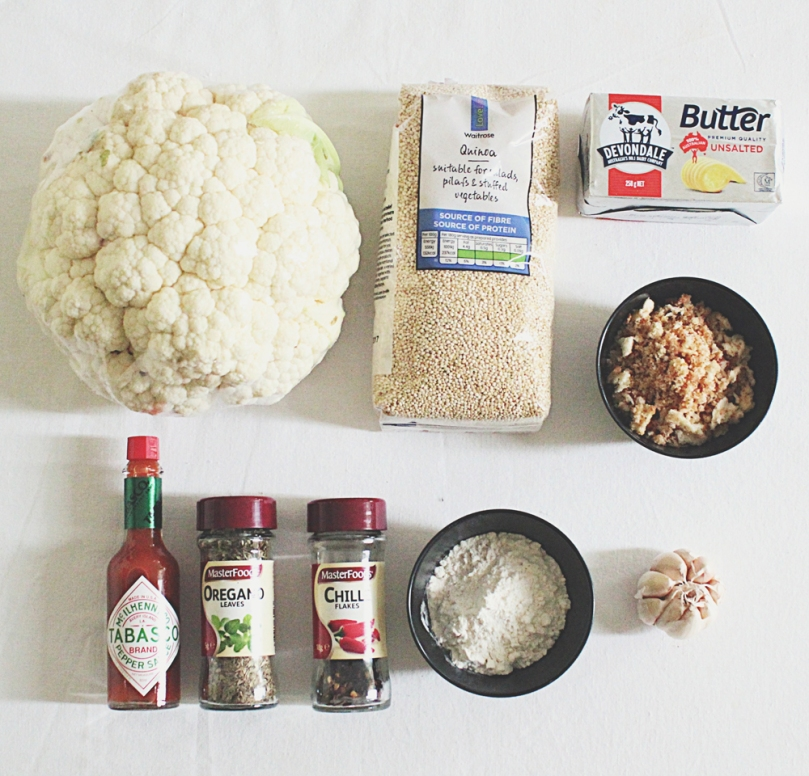 "Buffalo Cauliflower & Quinoa ""Meatballs"" Ingredients"