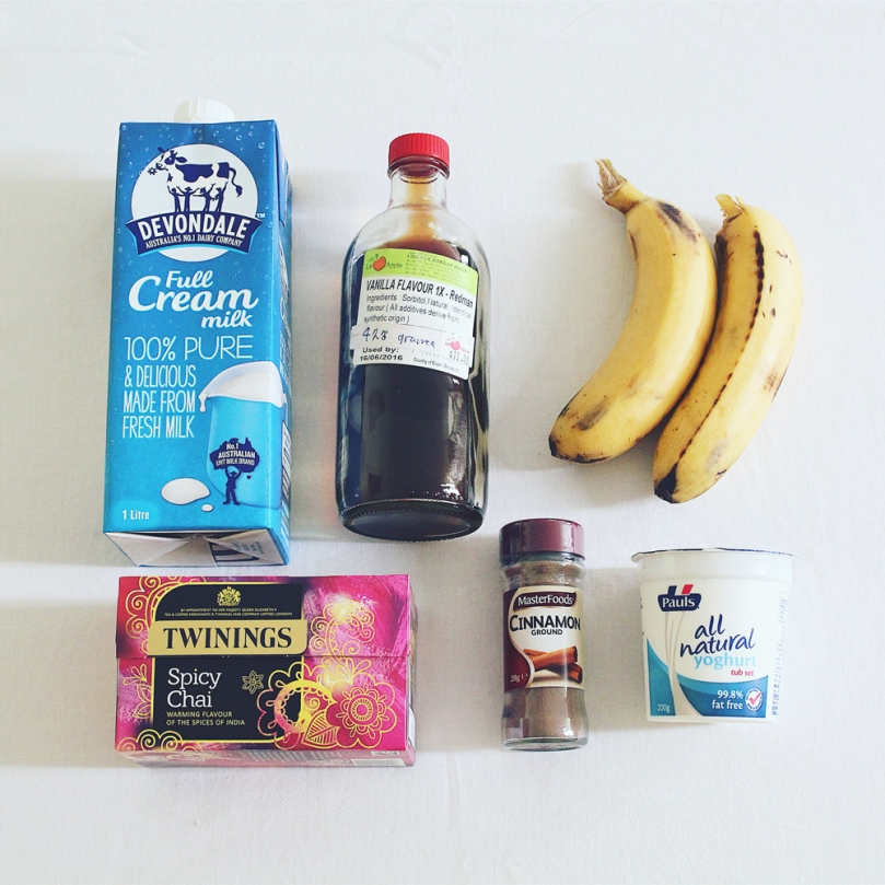 Spicy Chai & Banana Cinnamon Smoothie Ingredients