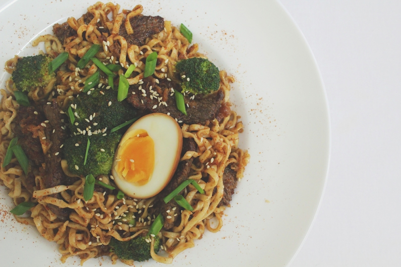 Beef & Broccoli Mee Pok with Soy Eggs