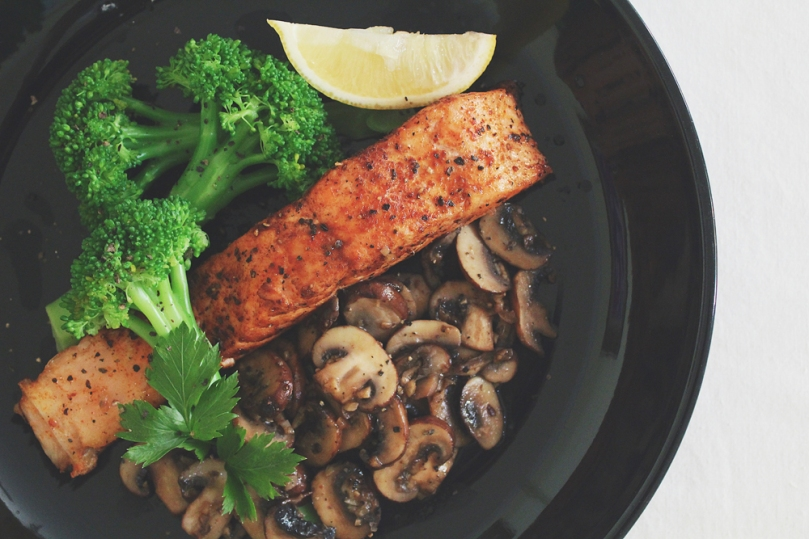 Sicilian-style Salmon with Garlic Mushrooms & Poached Broccoli