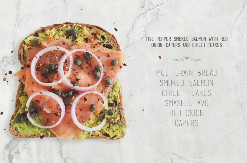 Five Pepper Smoked Salmon with Red Onions, Capers & Chilli Flakes