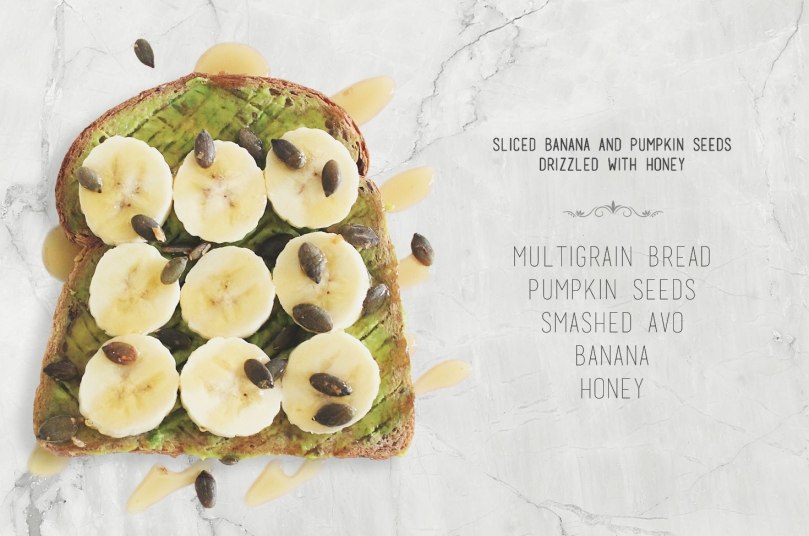 Sliced Banana & Pumpkin Seeds drizzled with Honey