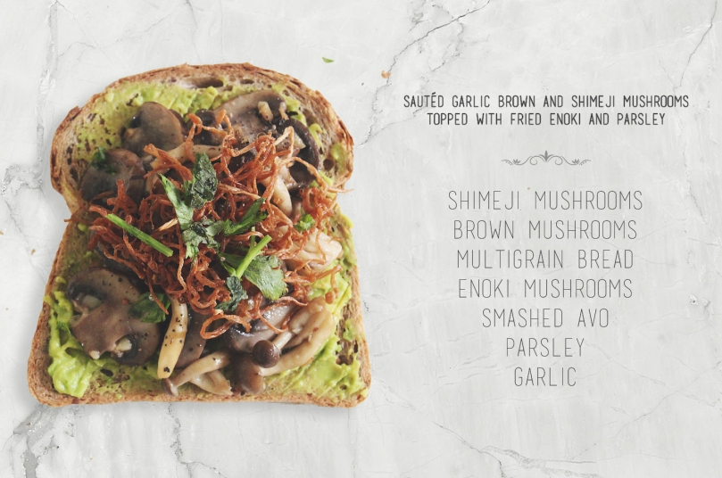 Sautéd Brown & Shimeji Mushrooms topped with Fried Enoki & Parsley