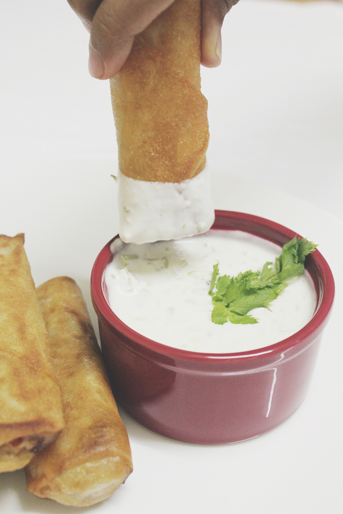 Avocado Egg Rolls with Parsley Dipping Sauce