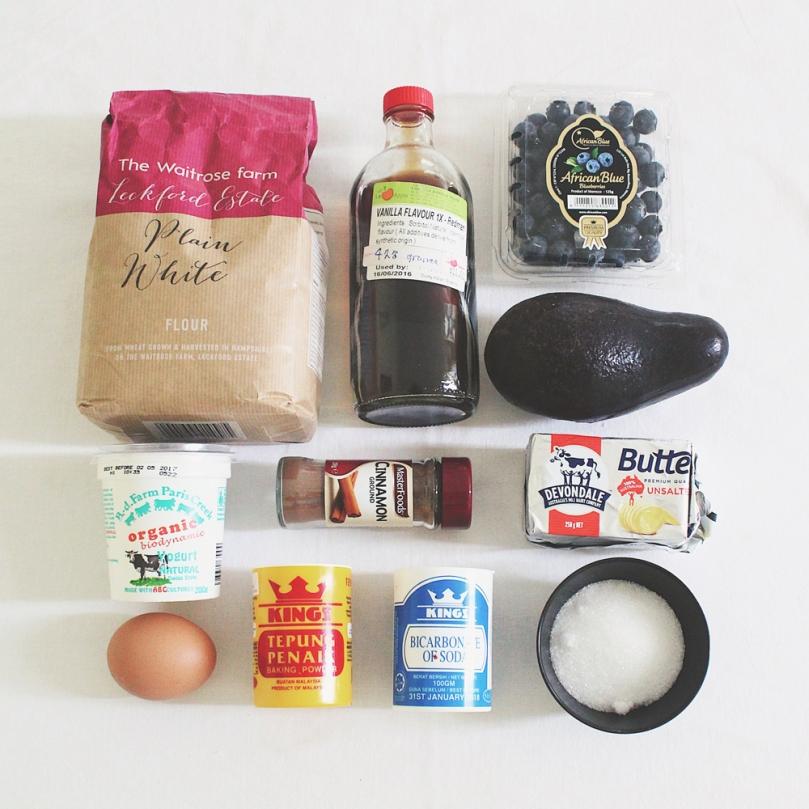 Breakfast Muffins: Avocado & Blueberry Ingredients
