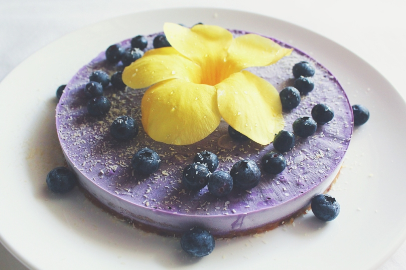 Vegan No-bake Blueberry & Lemon 'Cheesecake'