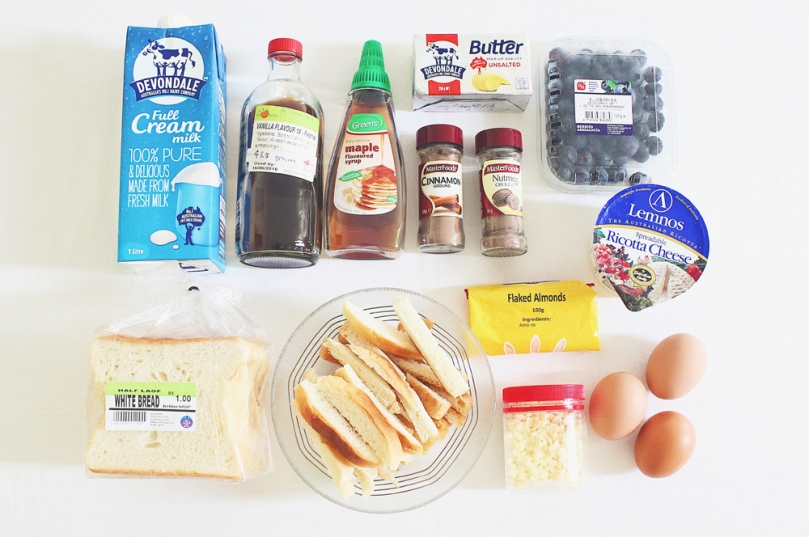 Blueberry Bread Pudding Ingredients