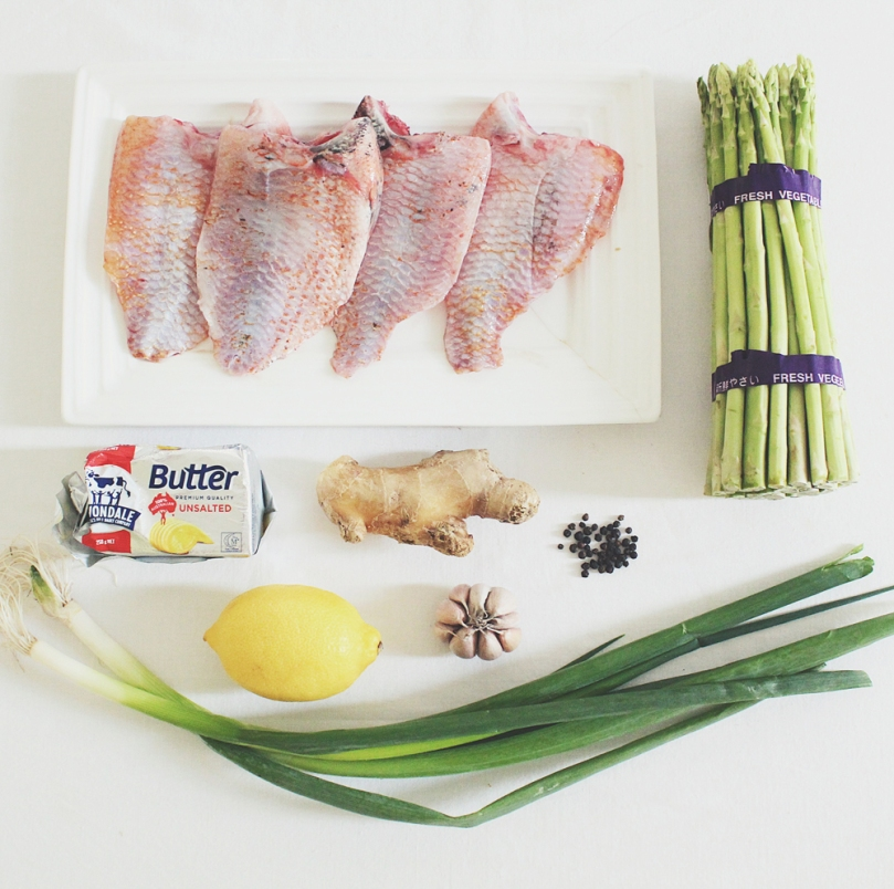 Lemon, Butter & Ginger Tilapia en Papillote Ingredients