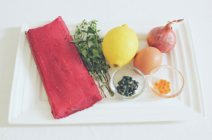 Beetroot & White Wine-cured Ocean Trout Tartare Ingredients