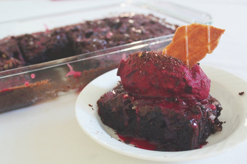 Beetroot Brownies with Chocolate Chunk Beet Ice Cream