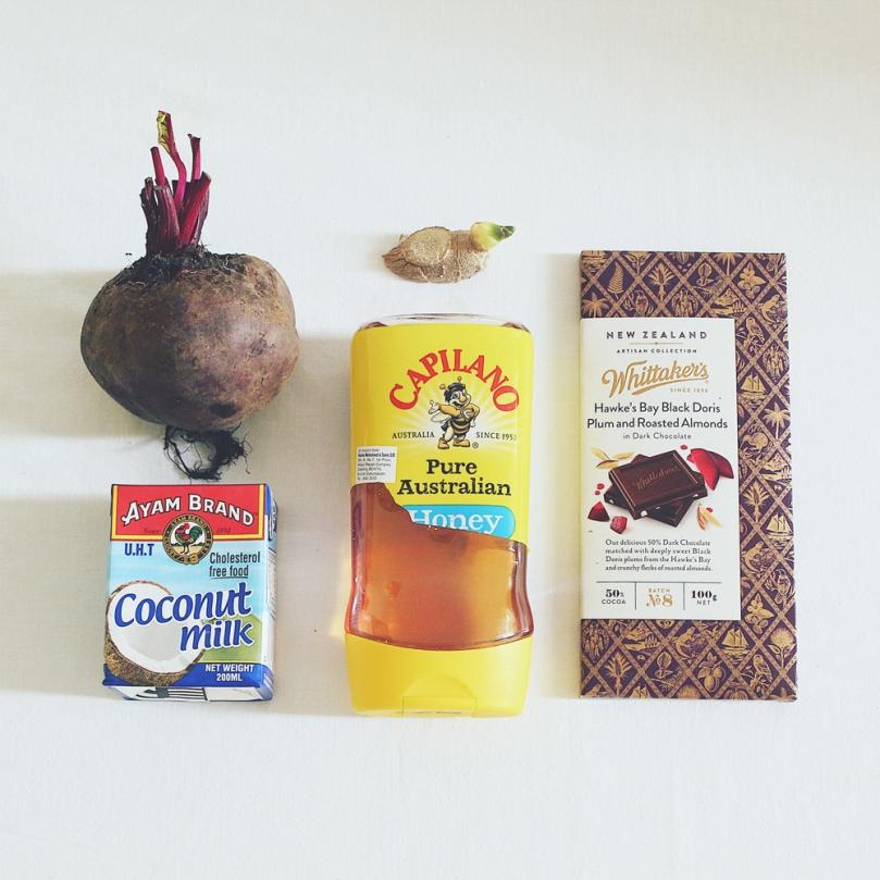 Chocolate Chunk Beet Ice Cream Ingredients