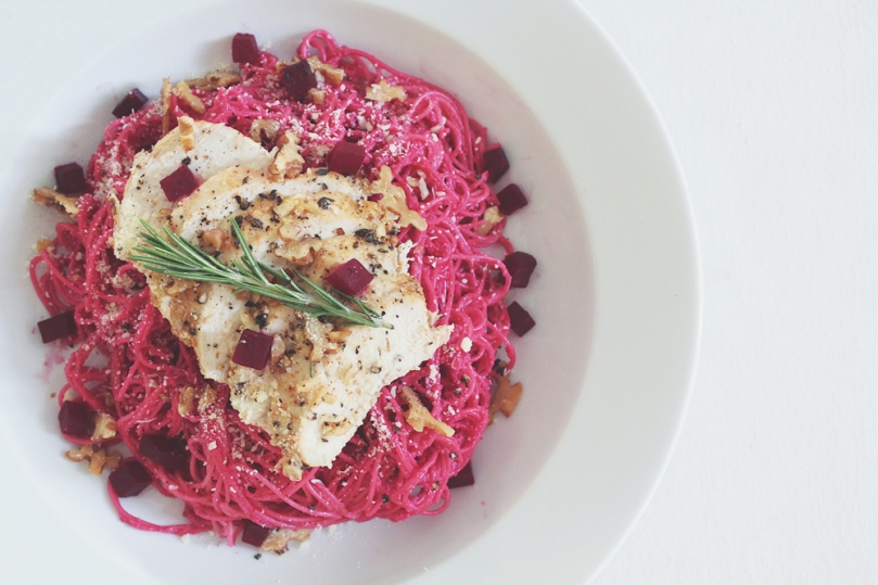Angel Hair with Beetroot Pesto & Roast Lemon Rosemary Chicken