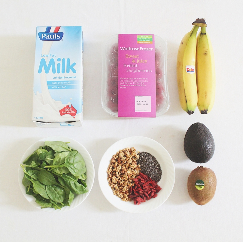 Avocado & Spinach Smoothie Bowl Ingredients
