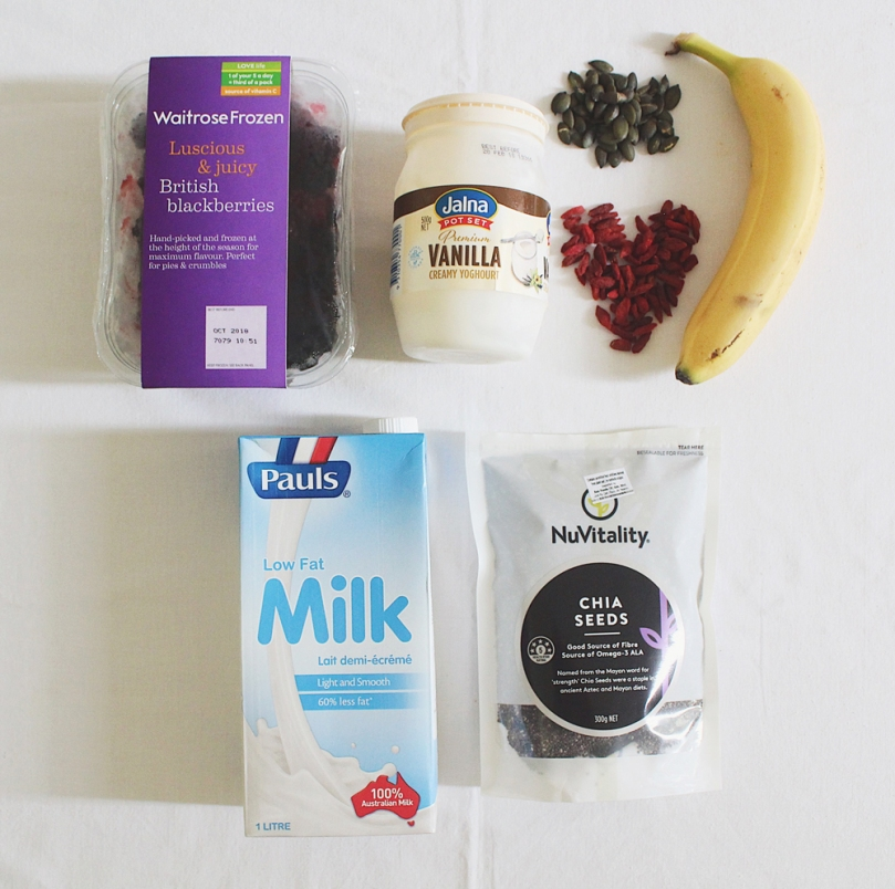 Banana & Blackberry Smoothie Bowl Ingredients