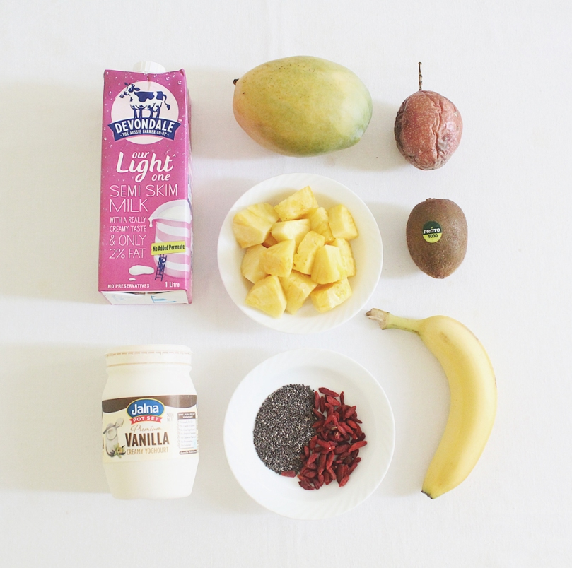 Tropical Mango & Pineapple Smoothie Bowl Ingredients