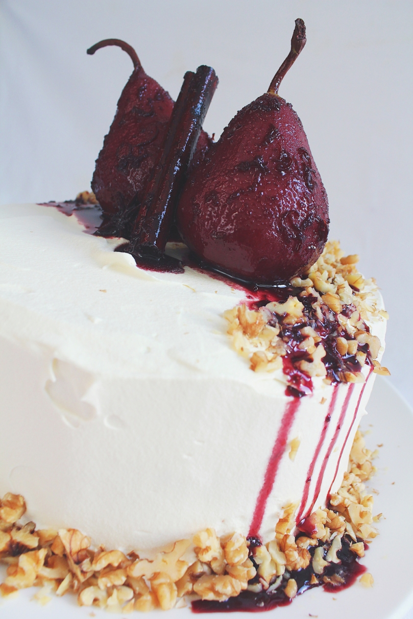 Pear & Walnut Cake with Spiced Red Wine Pears