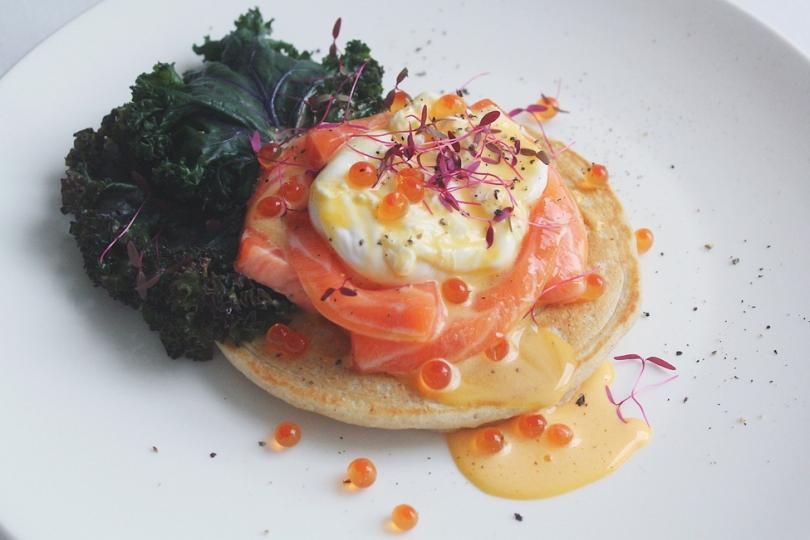 Salmon Sashimi Eggs Blini