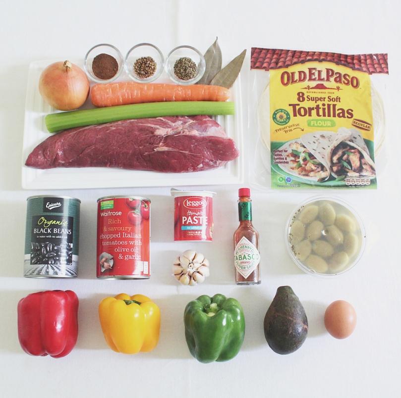 Ropa Vieja con Huevos Rancheros Ingredients