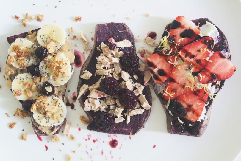 Sweet Purple Sweet Potato Toasts (3 ways)