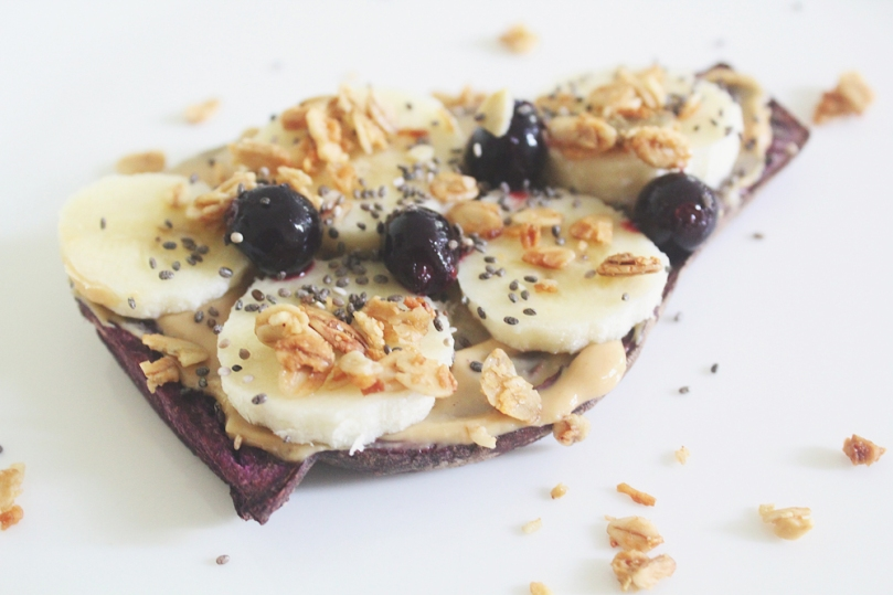 Sweet Purple Sweet Potato Toasts (3 ways): Banana, Blueberries & Peanut Butter