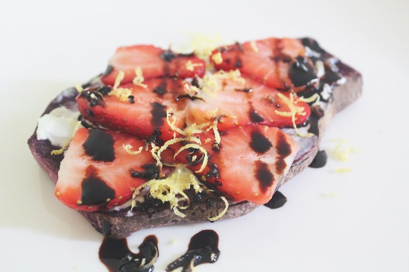 Sweet Purple Sweet Potato Toasts (3 ways):Strawberries & Goats Cheese with Balsamic Reduction