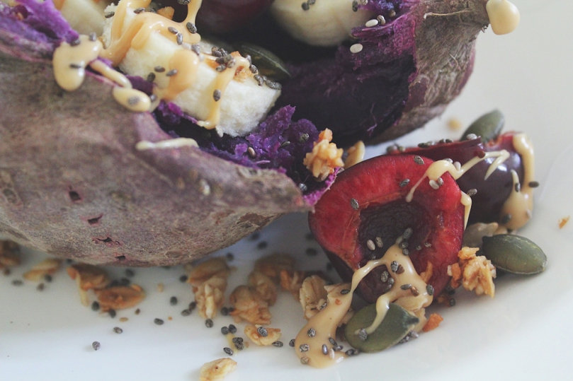 Baked Purple Sweet Potato with Banana & Cherries