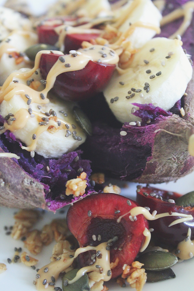 Baked Purple Sweet Potato with Banana & Cherries