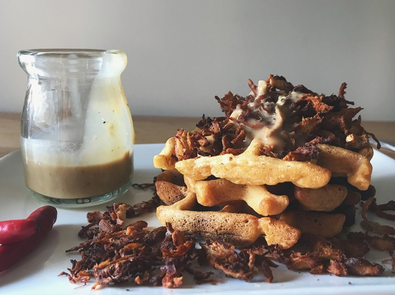 Waffles with Oven-fried Adobo Flakes