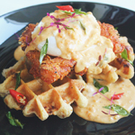 Fried Chicken with Salted Egg Sauce 'Eggs Benedict'