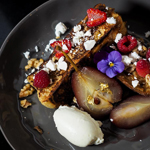 French Toast with Red Wine Pears