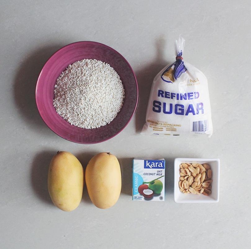 Khao Neoo Mamuang (ข้าวเหนียวมะม่วง) Mango Sticky Rice Ingredients