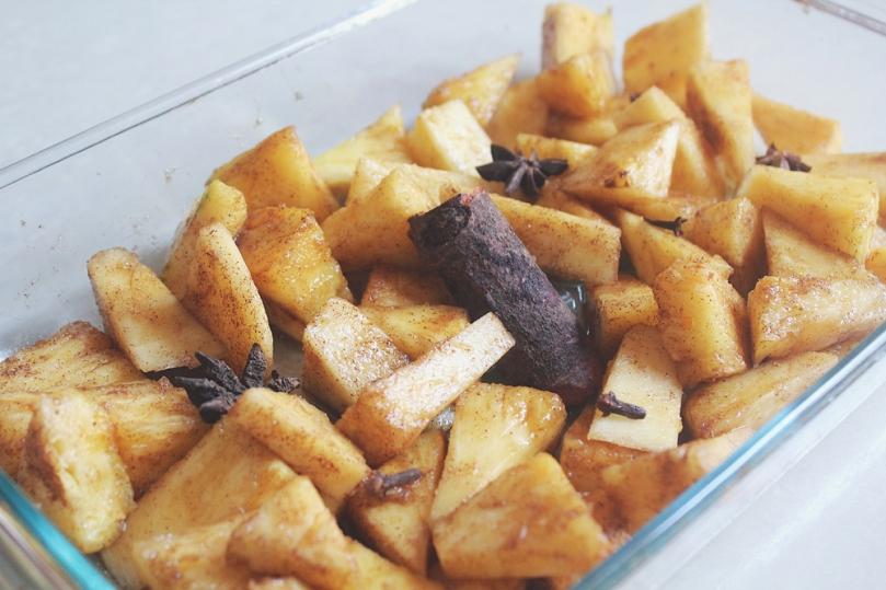 Spice-roasted Pineapple Nice Cream Process